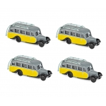 1:87 1947 Citroen U23 Autocar - Yellow & Grey x 4pcs