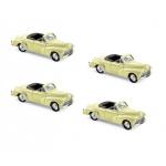 1:87 1952 Peugeot 203 Cabriolet - Sulphur Yellow (x4)